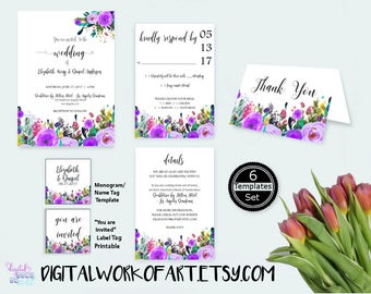 Wedding Invitation Template, DIY Floral Bohemian Wedding Invitation Set, Editable PDF instant download, boho, rsvp, details, thank you,tag,
