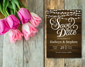 Rustic Wood With String Lights Save The Date Invitation, Rustic Save The Date, Template, DIY, EDITABLE PDF, Printable Instant Download E16F