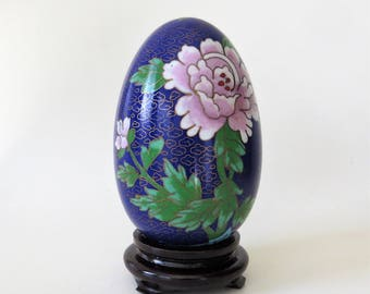 Vintage Cloisonné Enameled Cobalt Blue Egg with Intricate Flowers and Bird Design on a Wooden Stand Made in China