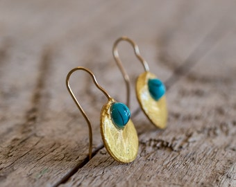 Dark Turquoise Dot Earring