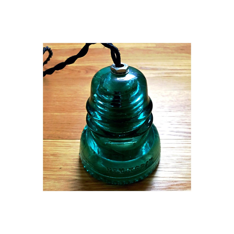 Glass insulator pendant light antique style fabric cord aqua for Antique insulator pendant lights