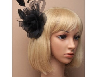 Large Black Rose Fascinator with Feathers & Loop decoration. Wedding Fascinator, Races Hat, Flower Fascinator, Ladies Hat, Black Fascinator