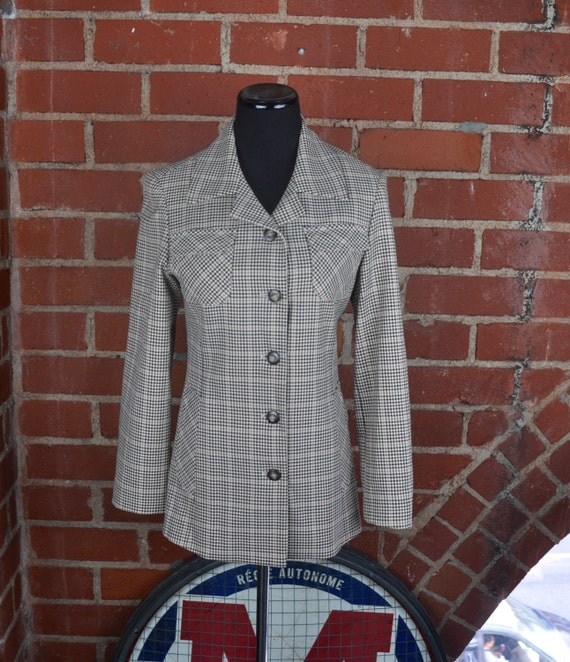 Vintage 1980s Women's Benetton Plaid CPO Long Jacket Blazer with 4 Pockets Made in Italy Sz 38 (US Sz 2)
