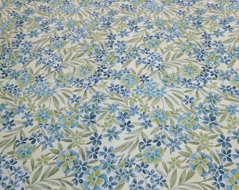 Blue Flowers on Green Cotton Fabric