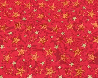 Gold Stars on Red Cotton Fabric