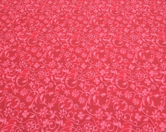 Red on Red Designed Cotton Fabric