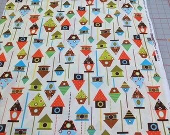 Urban Zoologie Bermuda-Birdhouses Cotton Fabric from Robert Kaufman