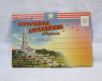 Souvenir of Historical Alexandria Virginia, Post Card Book, Full color 1930s 1940s post cards, Capital Souvenir Company, Inc