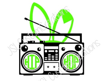 Hip Hop Boombox, SVG, EPS, DXF, Png Cut File, Easter, Bunny, Rabbit, Spring, for Silhouette, Cricut, Vector, Kids, Boy, Girl, Download