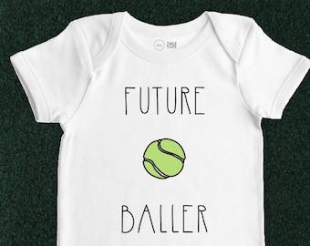 Tennis Baby Onesie - Future Baller - Baby Bodysuit, Baby Clothes, Baby Shower Gift