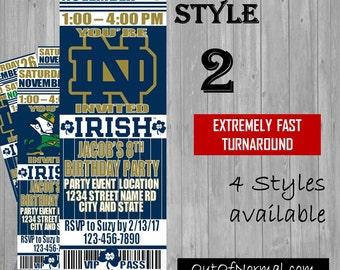 Notre Dame Fighting Irish Themed Birthday Invitation Tickets - Football basketball college Birthday Invitations -Personalized invites!