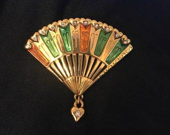 Vintage Monet Fan Brooch, Green, Orange, Rhinestones
