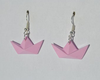 Small boats earrings pink pastel, so guarantee origami 3D original polymere.cadeau made for a summer