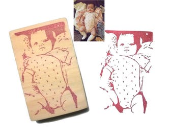 Stamp birth annoucement personalised - Stamp baby face - By Espèce de Manue !