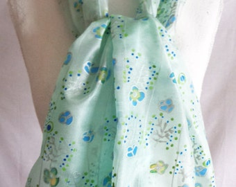 Floral silk scarf Blue and green silk scarf hand painted silk scarf  long silk scraf gift for her silkscarvesparis