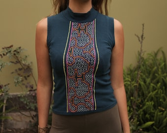 Handmade Shipibo Shirt Embroidered Amazon Sacred Visionary