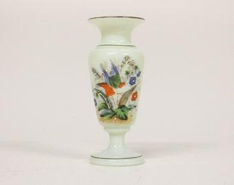 Victorian Uranium vase with floral decor-Bohemian uranium glass-Opaline Uranium glass