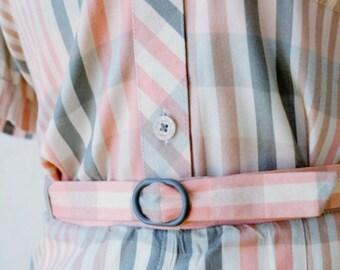 Vintage 1960s 'XS-S' Checked Suit / Mad Men Suit / Office Wear / Gingham Suit / Mod / Cropped Jacket / Pencil Skirt / Cherie Suit