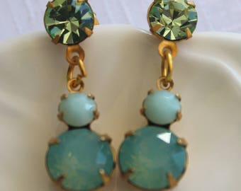 Vintage Swarovski Pacific Green Opal and MInt Alabaster Double stud Earings Dangle