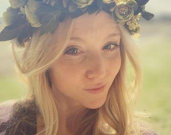 Green peony flower crown,vintage floral wedding wreath,boho flower halo,rustic woodland flower crown,bohemian wedding crown
