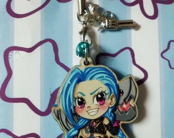 Strap Keychain League of Legend blue or pink Jinx