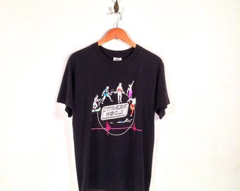90s Fitness World Graphic T-Shirt. Totally Awesome Vintage Neon Spandex Era Workout Exercise Fitness World Logo Tee.