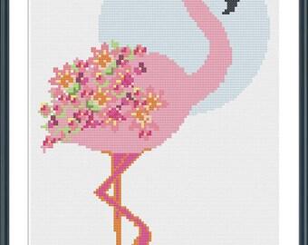Flamingo Cross Stitch Pattern  - digital download  - tropical pink modern floral flower cross stitch pattern