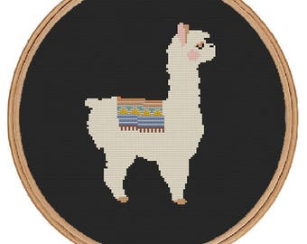 Llama Cross Stitch Pattern - instant digital pdf download -cute animal modern sweet simple alpaca