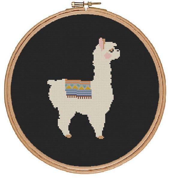 Llama cross stitch pattern instant digital pdf download