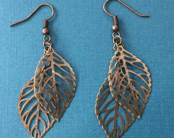 Bronze Leaf Earrings with Delicate Cascading Leaves