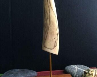 Moby Dick: scrimshaw desk sculpture of diving sperm on deer antler