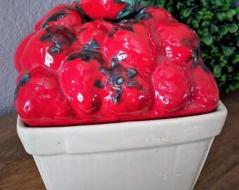 Vintage Ceramic Strawberry Canister