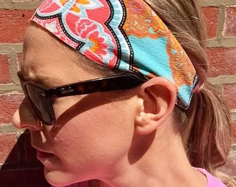 Fitness/Running/Yoga/Workout Wide Headband-VINTAGE QUILT