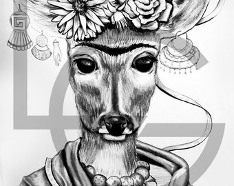 FAWN FRIDA    This item is a printed poster of my illustration.