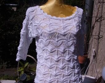 Undershirts white, wave pattern, 1/2 arm, Gr. 36-38 (S-m)