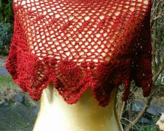 Crochet Schulterwärmer, Cape, red, Gr. 36-38(S-M)