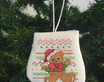 Christmas Teddy Bear Mitten Ornament