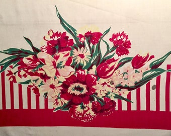 Vintage 1950's Tablecloth Spring Bouquets and Stripes - Pinks and Reds - Tulips Carnations