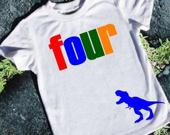 Boys 4th Birthday Shirt - 4th Birthday Shirt - Dinosaur Shirt - 4th Birthday Boy - Four Year Old Birthday - Fourth Birthday Dinosaur Shirt