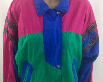 Vintage 80s Andy Johns Jacket, Bright Colorblock With Retro Trim, Women's Small, Padded Shoulders, Track Jacket