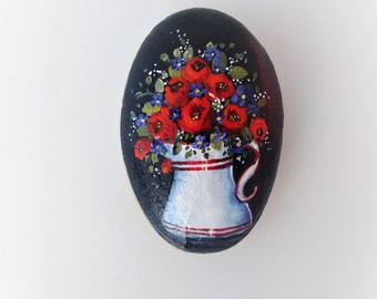 Breonna - hand-painted rock, for giving and for getting, red roses in a jug, lavender