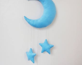 Blue moon and stars soft pillow wall hanging, baby boy shower decor, felt fabric crib mobile, nursery window ornament, light moon mobile