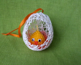 Easter decor, egg with a crocheted chick, handmade