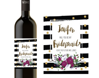 BRIDESMAID WINE BOTTLE Label, Will You Be My Bridesmaid Gift, Bridesmaid Proposal Wine Label, Maid of Honor Gift