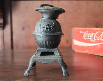Sale! Vintage Cast Iron Miniature Pot Belly Stove, Salesman's Sample,with Lid Lifter!