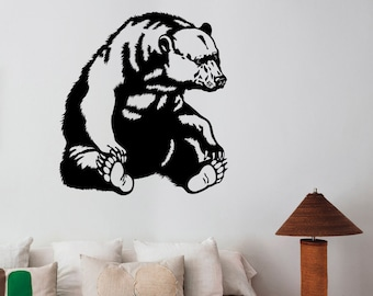 Grizzly Bear Wall Decal Removable Vinyl Sticker Animal Art Decorations for Home Housewares Living Kids Room Bedroom Wildlife Decor br3