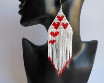 Earrings Love Earrings heart Extra Large Earrings Earrings Inspired Dangle Long Earrings Beadwork Beaded Jewelry Gift for her Valentine