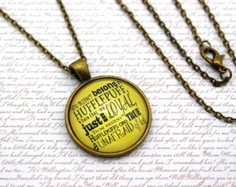 Harry Potter, Hufflepuff House Song, Hufflepuff Personality Necklace or Keychain, Keyring