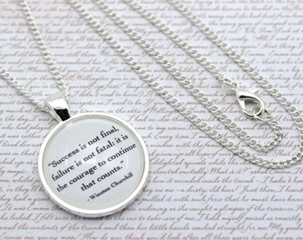 Winston Churchill 'Success Is Not Final' Famous Quote Necklace or Keychain, Keyring