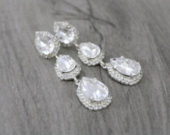 Bridal earrings, Bridal jewelry, Crystal earrings, Chandelier earrings, Clear white crystal earrings, Swarovski earrings Rhinestone earrings